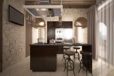 Пол кухня керамогранит в коричневом