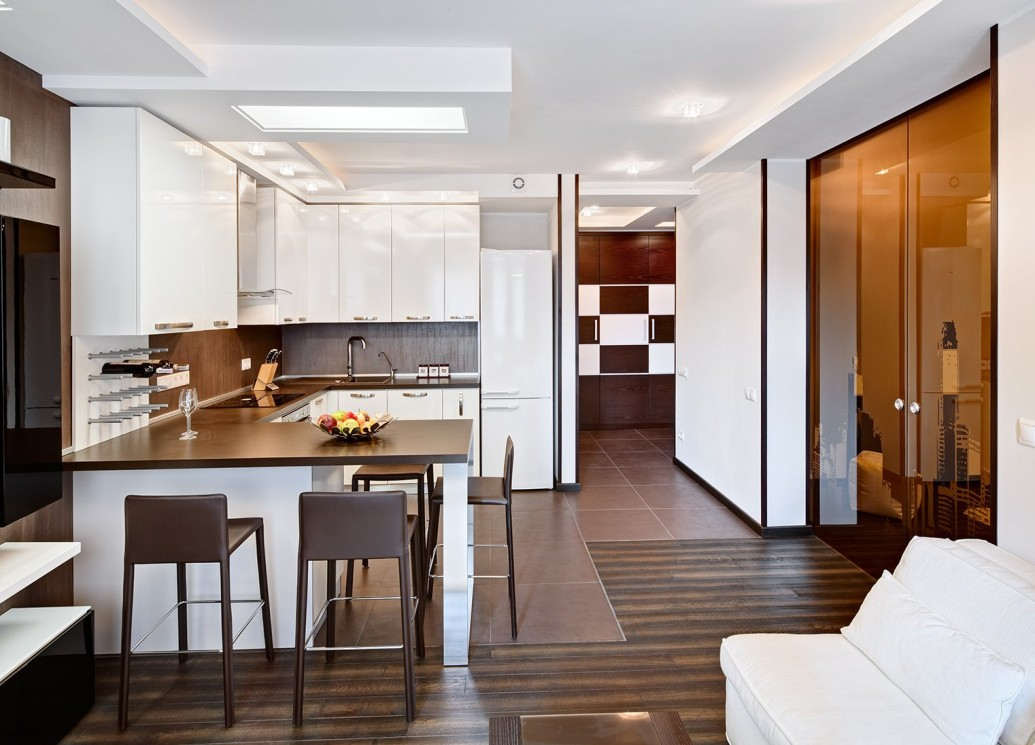 Стильная кухня квартиры-студии