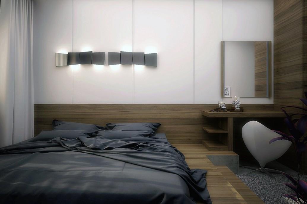 Отделка спальни натуральной древесиной кровать-подиум