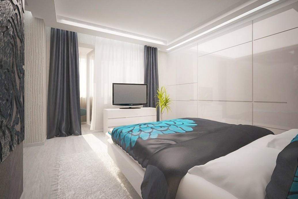 Светлая спальня балкон современный стиль