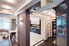 Подиум подстветка кухня квартира-студия для девушки