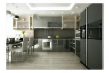 Светлая кухня квартира-студия хай-тек дерево