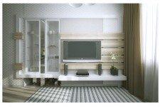 Шпонированная мебель сетлая квартира-студия