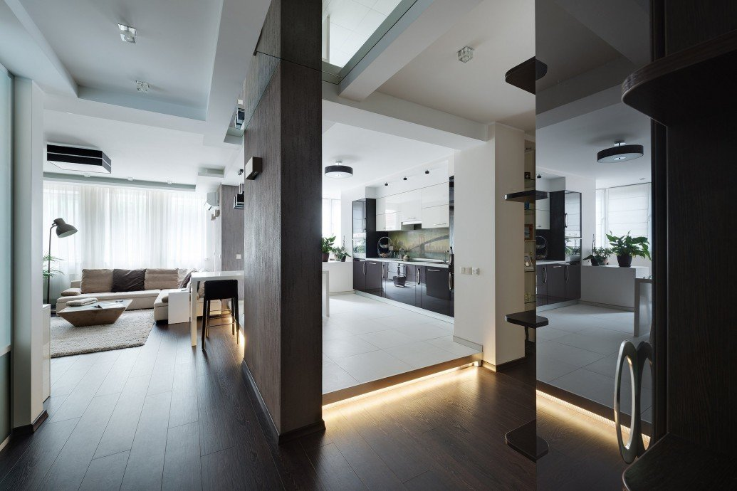 Зонирование кухня гостиная квартира-студия
