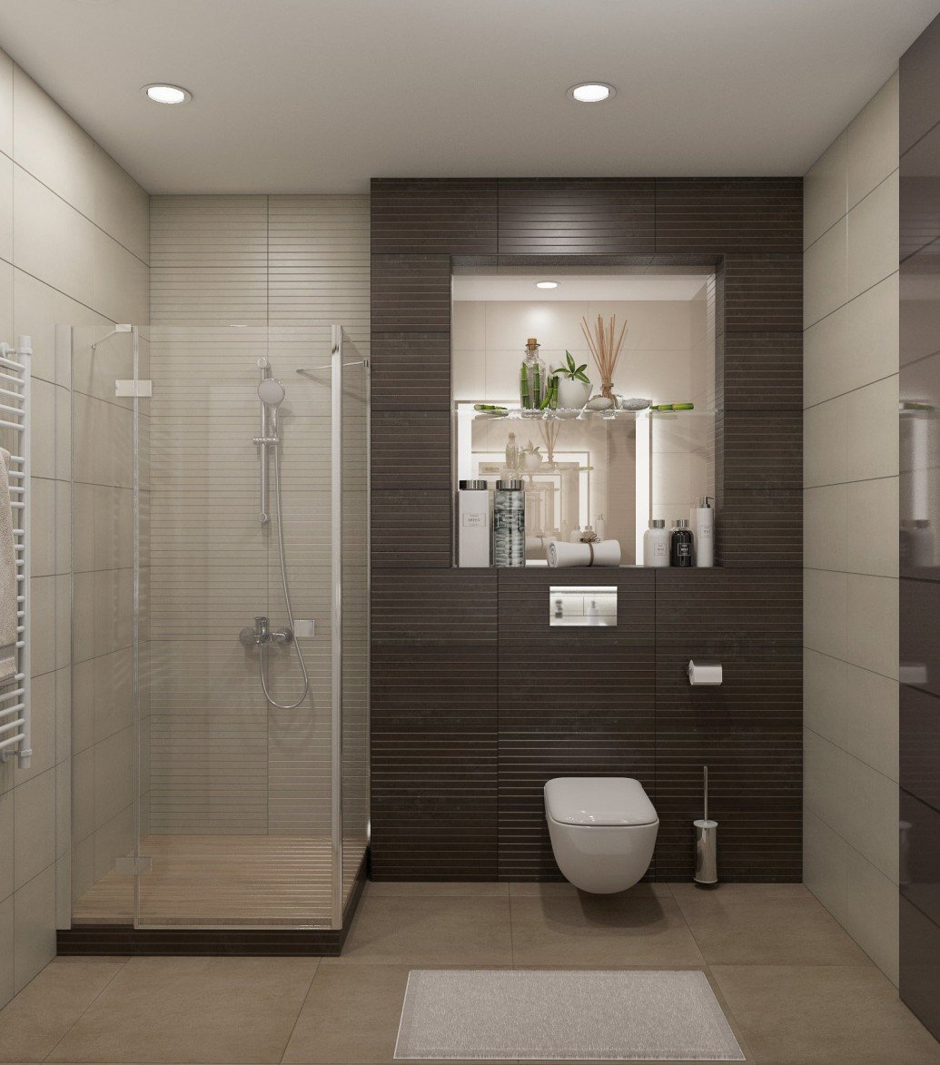Светлая ванная плитка керамогранит современный стиль
