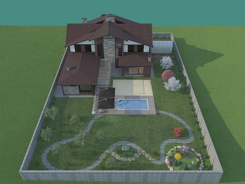 Дом бассейн стиль альпийского шале