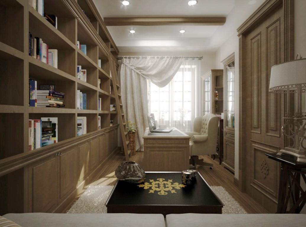 Большие окна кабинета дома средиземноморский стиль