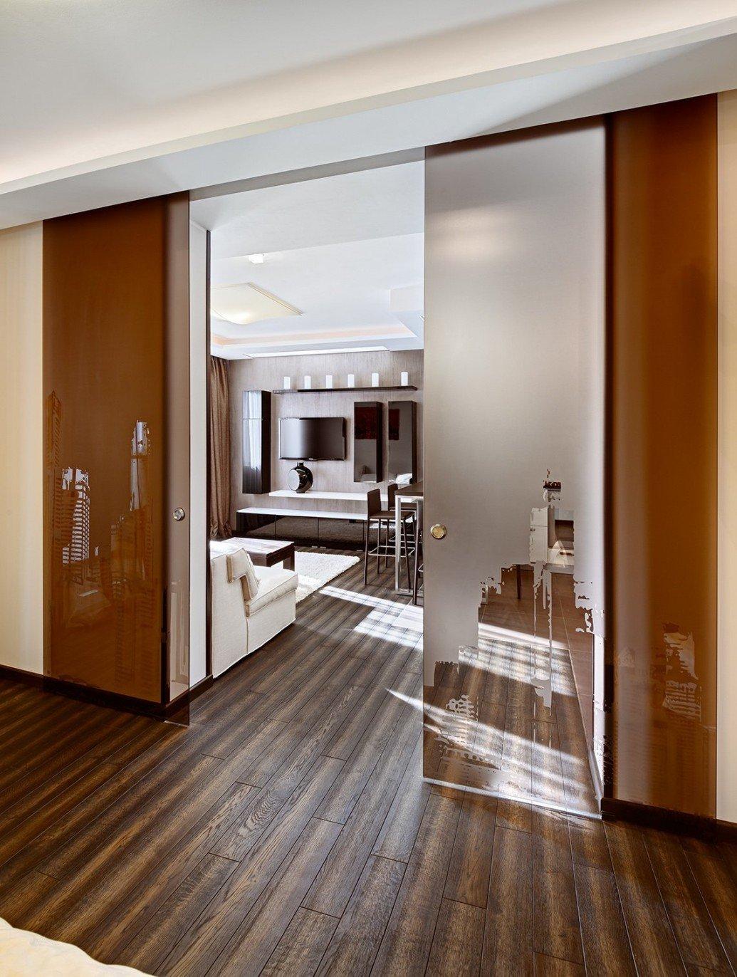 Зонирование пространства матовая стеклянная дверь