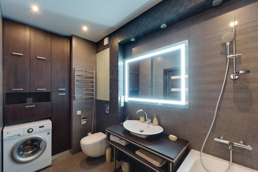 Ванная коричневые тона зеркало подсветка