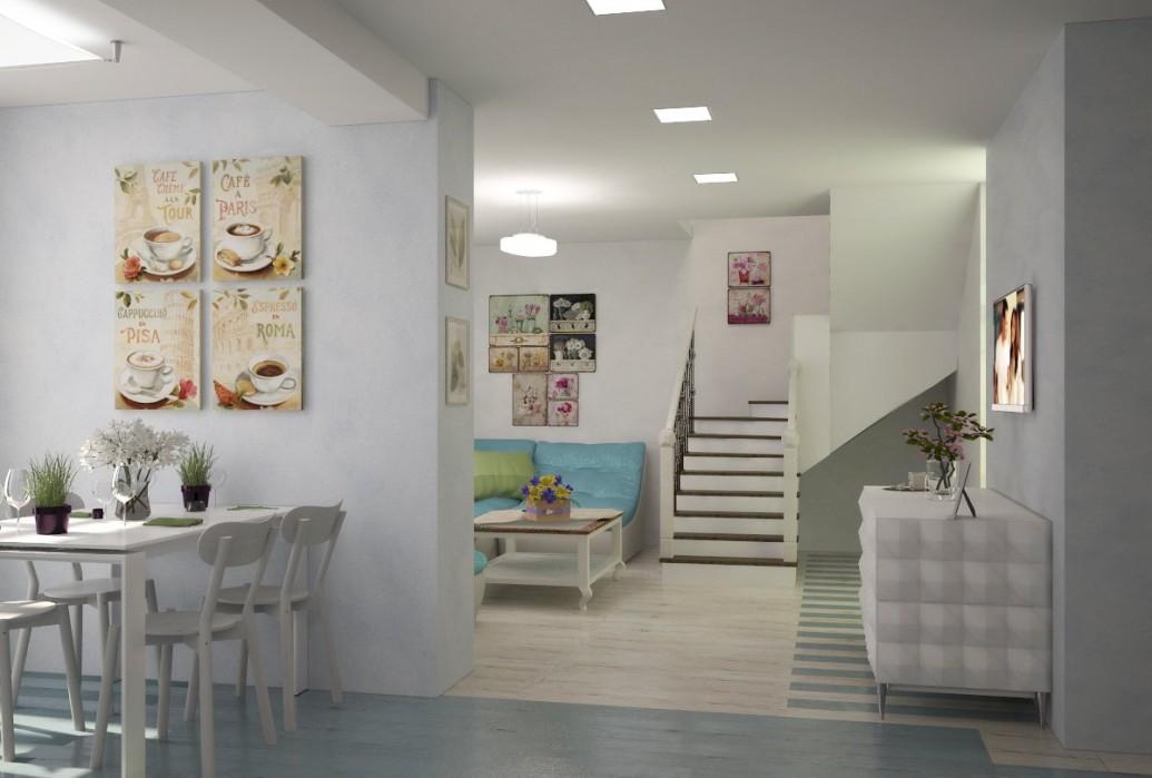 Двухуровневая квартира кухонная зона стиль легкий прованс