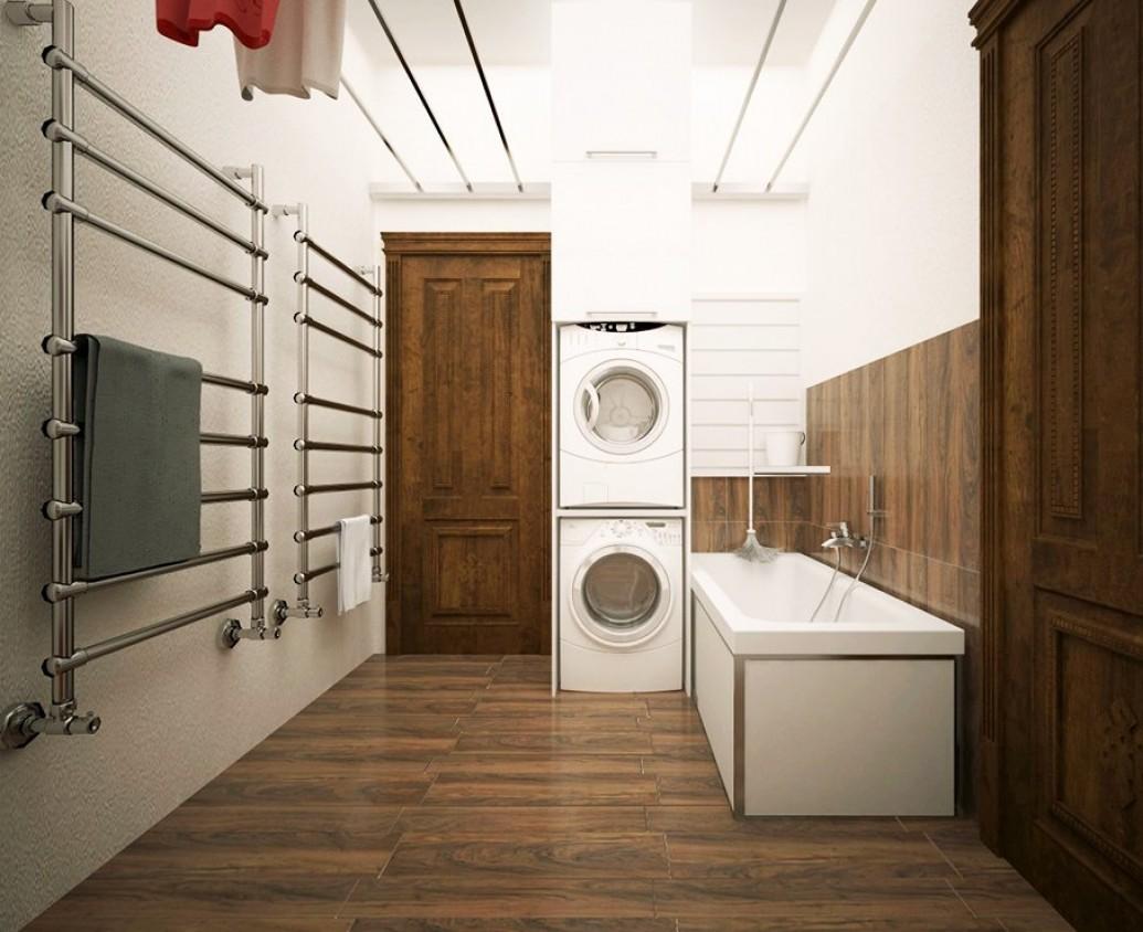Большая ванна дома в коричневом теплый пол