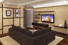 Гостиная квартиры-студии в коричневом