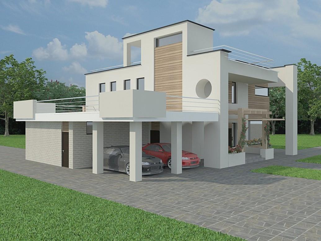Навес для машин дом современный стиль