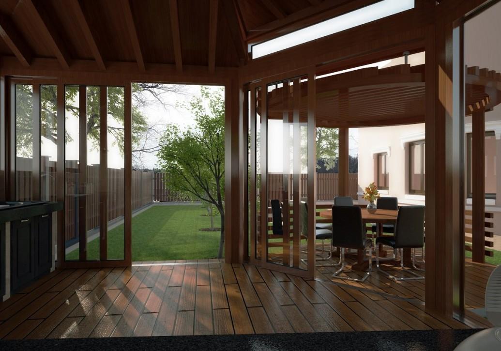Круглая терасса летней кухни раздвижные двери