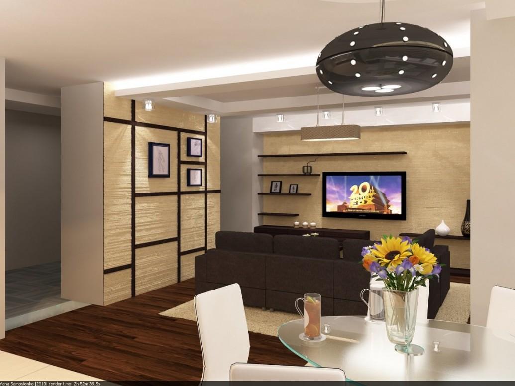 Квартира-студия в коричневом для семьи