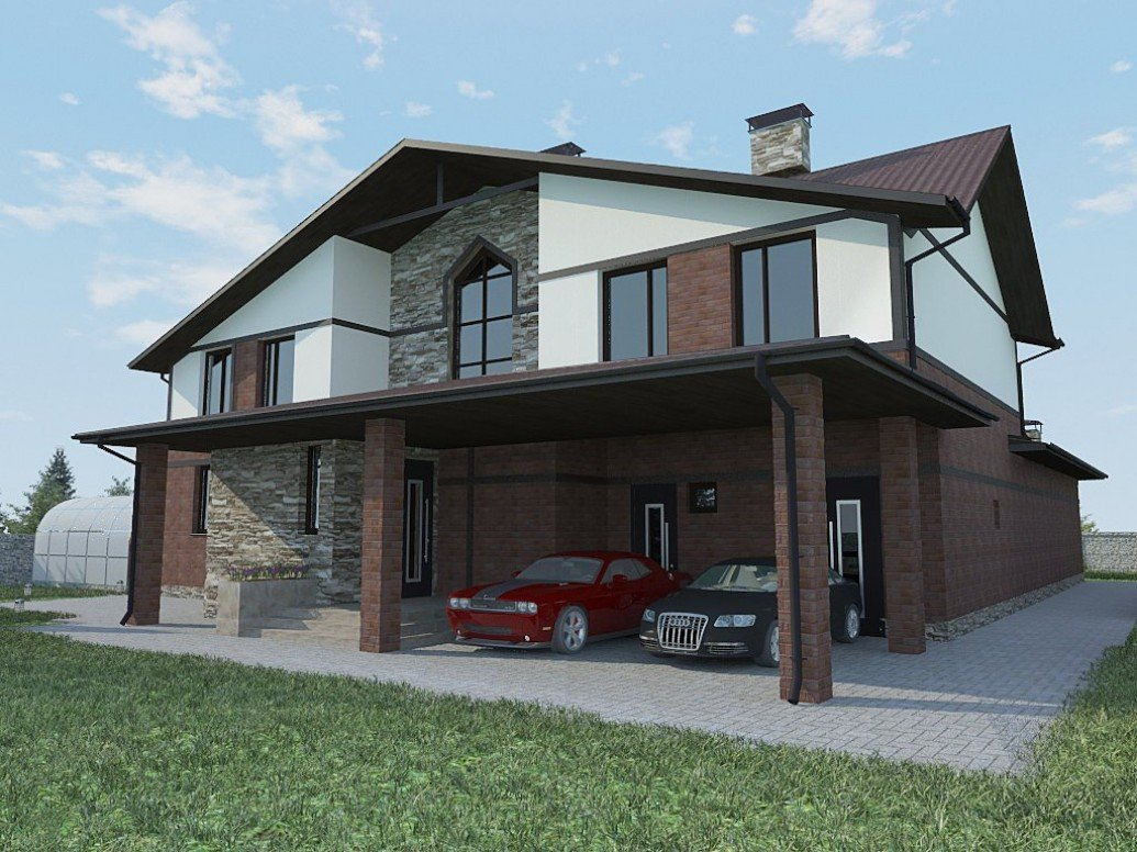 Дом крытый гараж стиль альпийского шале