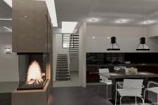 Лестница двухэтажного дома с камином европейский стиль