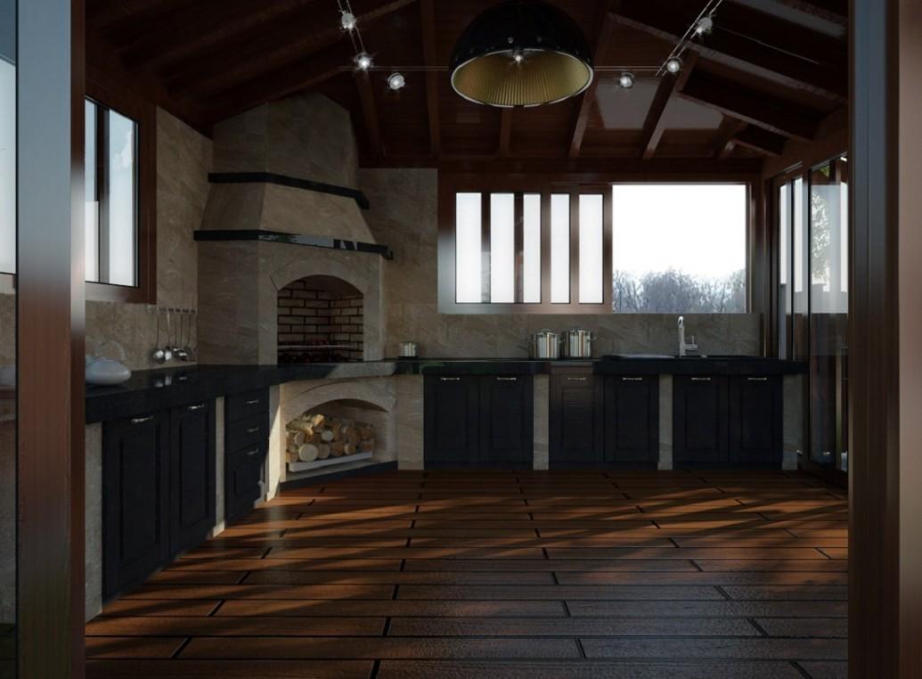 Печь летняя кухня интерьер эко стиль