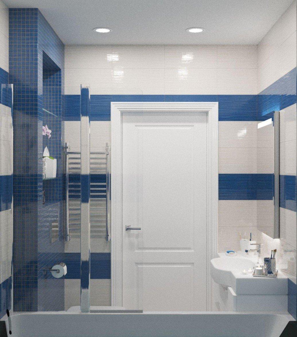 Бело-голубая ванная стиль легкий прованс