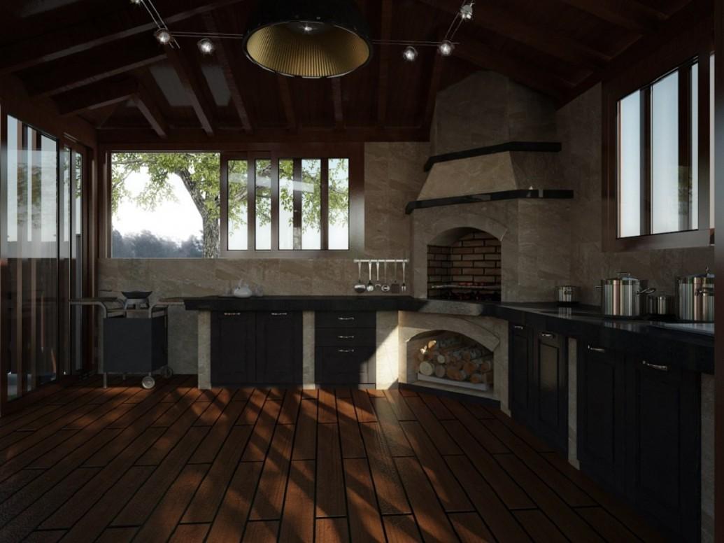 Интерьер светлая летняя кухня эко стиль