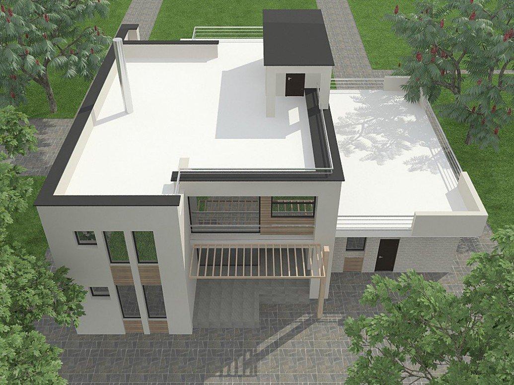 Белый дом большая плоская крыша современный стиль