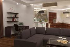 Рабочая зона квартиры-студии в коричневом