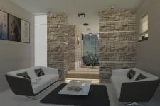 Облицовка гостиной камнем европейский стиль