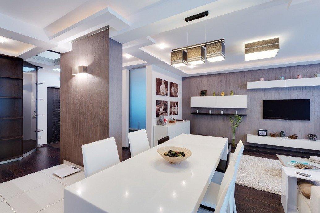 Обеденная зона светлая квартира-студия современный стиль
