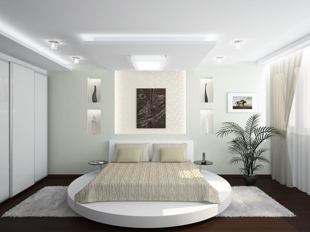 Белая спальня квартиры-студии для семьи