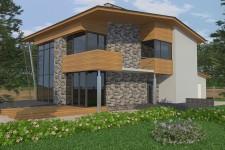 Большие витражные окна дом