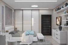 Шкаф-купе под потолок светлая спальня