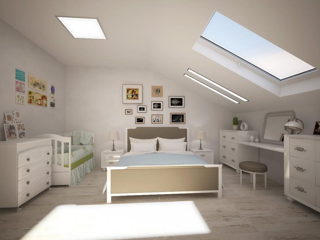 Светлая спальня мансарда стиль легкий прованс