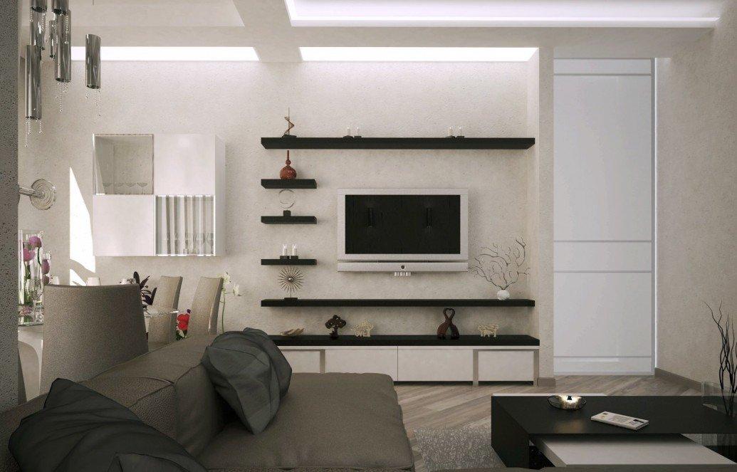 Зона отдыха квартира теплые тона современный стиль