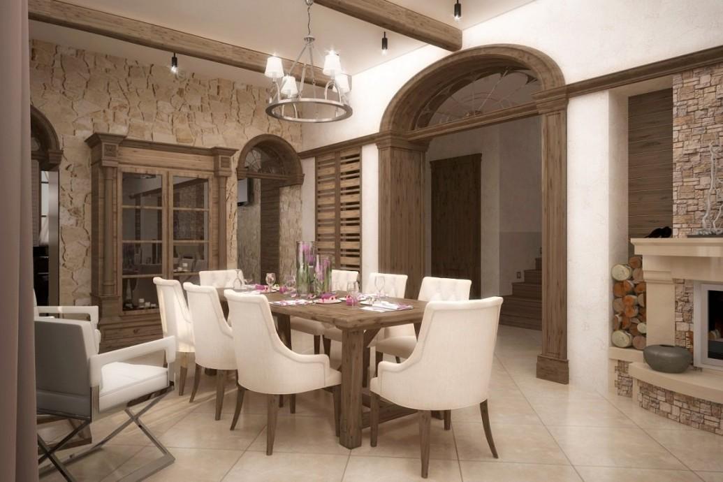 Обеденная зона дома интерьера в коричневом