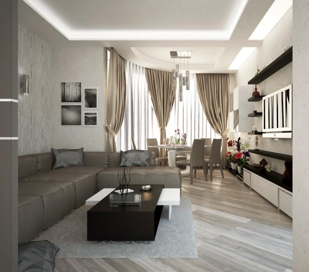 Светлая гостиная коричневые светлые тона