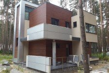 Дом облицовка фасада термодеревом европейский стиль