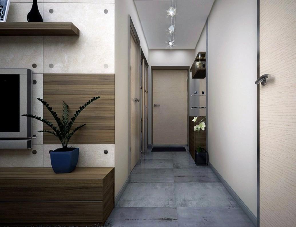 Светлый длинный коридор скандинавский стиль