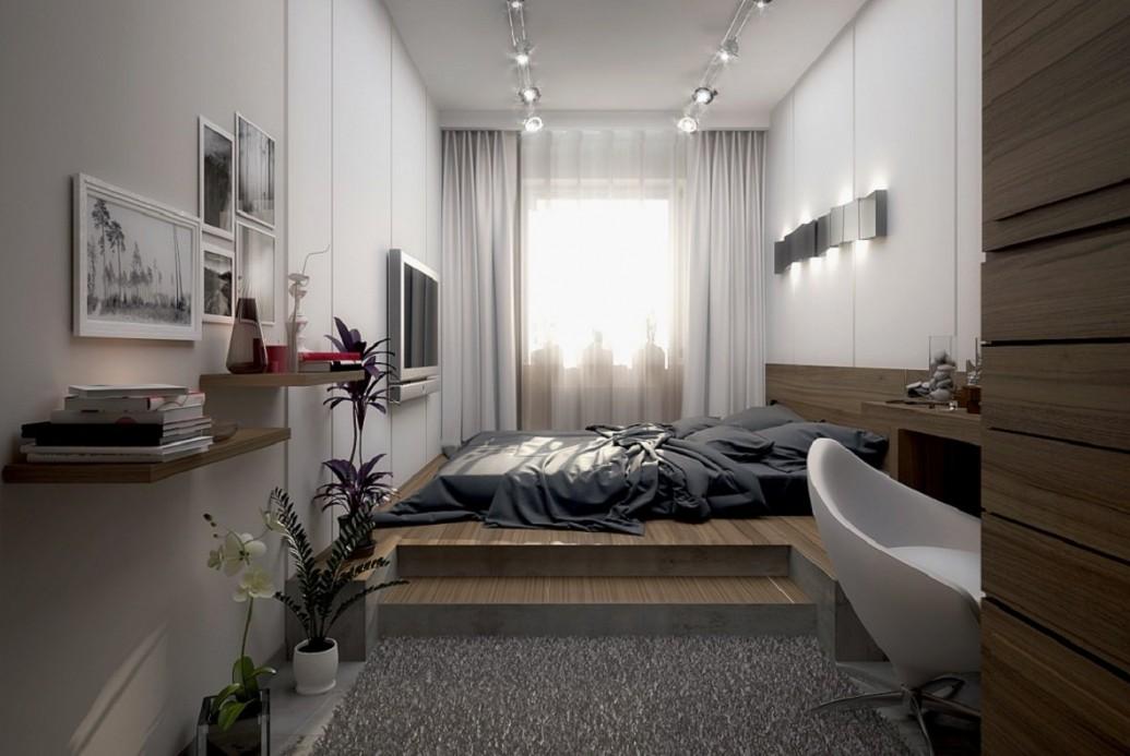 Кровать-подиум со ступеньками натуральная древесина