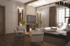 Спальня натуральная коричневая паркетная доска