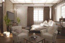 Светлая спальня большие окна в светло-коричневом