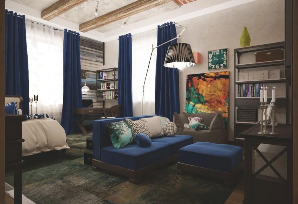 Светлая детская комната синий диван