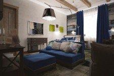 Детская комната коричневая мебель синий текстиль
