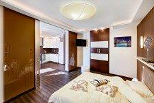 Стеклянная дверь зонирование пространства квартира-студия