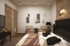 Черная кровать спальня дома средиземноморский стиль