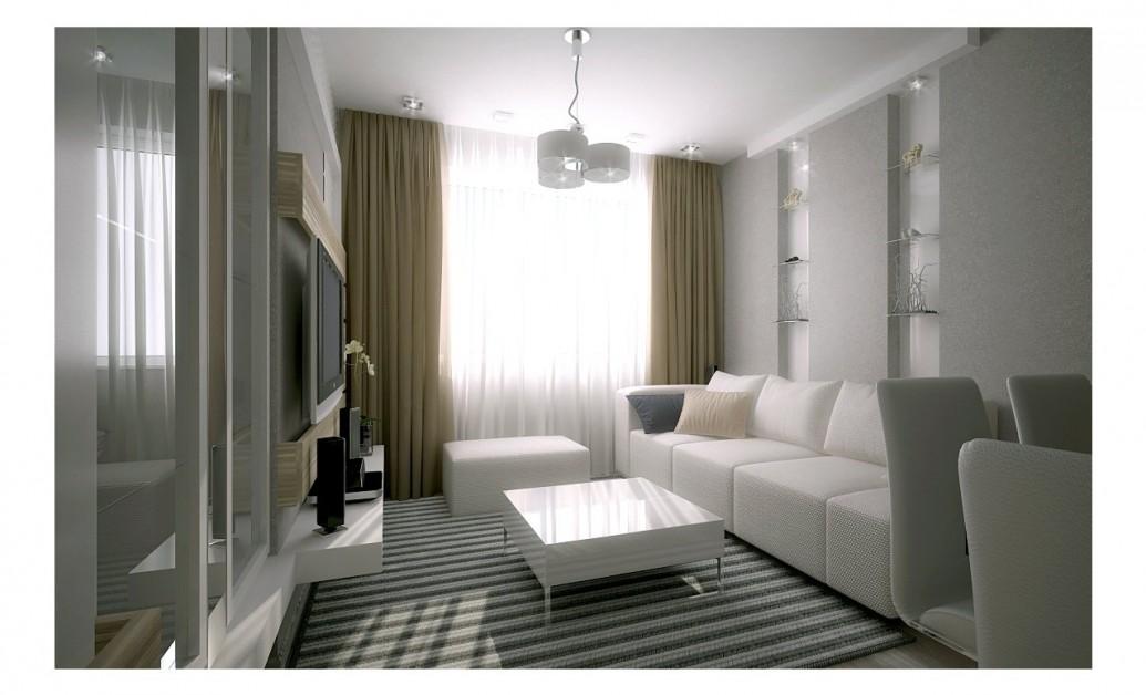 Зона отдыха квартира-студия светлая