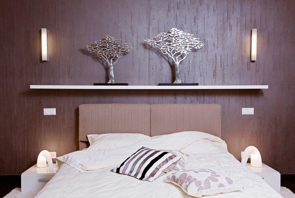 Акриловые светильники спальня квартиры-студии