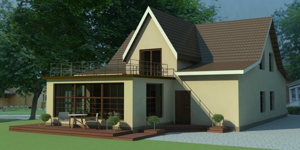 Пристройка терасса загородный дом