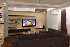 Гостиная коричневый диван минимализм