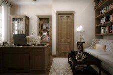 Светлый кабинет дома средиземноморский стиль