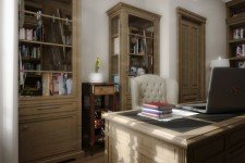 Стол светлого кабинета дома средиземноморский стиль